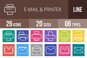 26 Email & Printer Line Multicolor