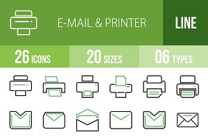 26 Email & Printer Green&Black Icons
