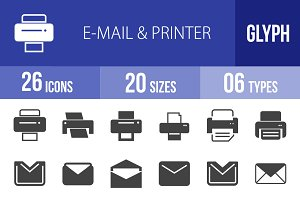 26 Email & Printer Glyph Icons