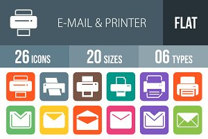 26 Email & Printer Flat Round Corner