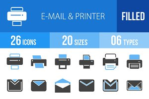 26 Email & Printer Blue&Black Icons