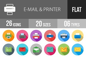 26 Email&Printer Flat Shadowed Icons
