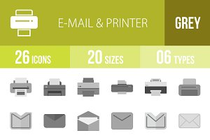 26 Email & Printer Greyscale Icons
