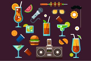Party icon set, summer fun, cocktail