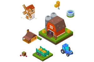 Farm set in isometric view