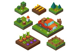 Farm at harvest time in isometry