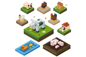 Farm animal isometry color set