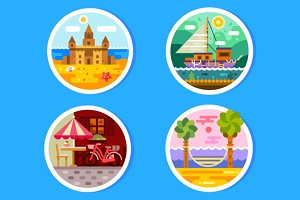 Summer landscapes in round badges