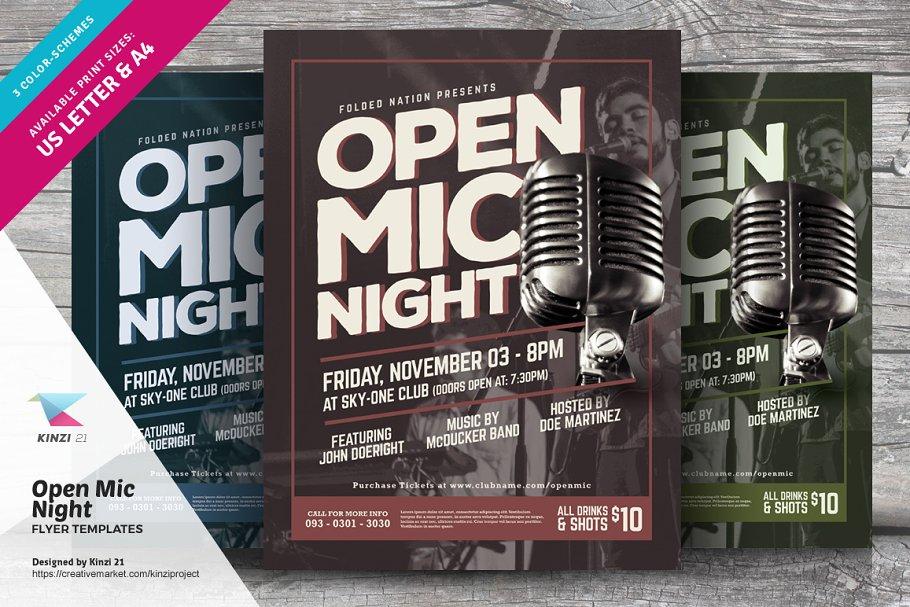 Open Mic Night Flyer Template Flyer Templates Creative