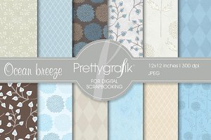 floral Scrapbook digital papers set