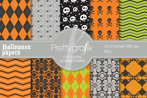 Halloween digital paper, commercial