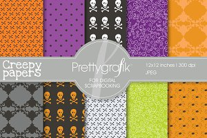 Halloween digital papers scrapbook