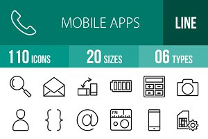 110 Mobile Apps Line Icons