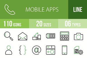 110 Mobile Apps Green & Black Icons