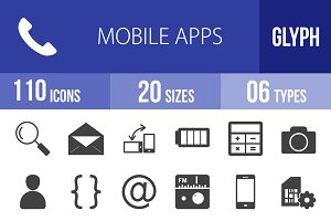 110 Mobile Apps Glyph Icons