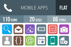 110 Mobile Apps Flat Round Corner