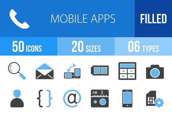 110 Mobile Apps Blue & Black Icons