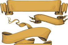 ribbon banners engraving style.