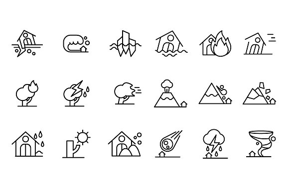 Natural disasters icons ~ Web Elements on Creative Market