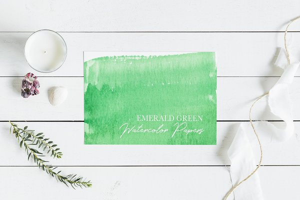 Emerald Green Watercolor Textures