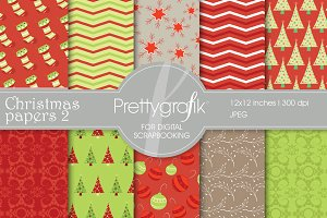 Christmas digital paper, commercial