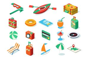 Travel icons isometric design