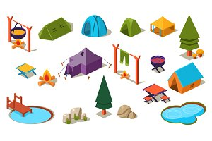 Isometric 3d forest camping elements