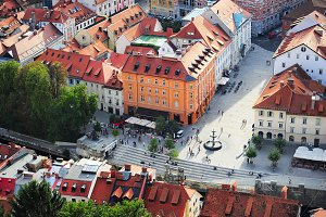 Colorful Ljubljana Old Town.Slovenia