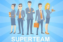 Vector set of young business team
