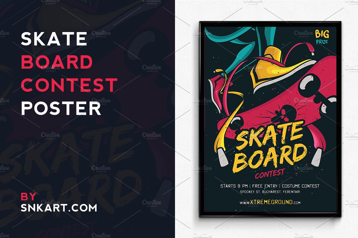 Skateboard Halloween Contest Flyer Templates Creative Market