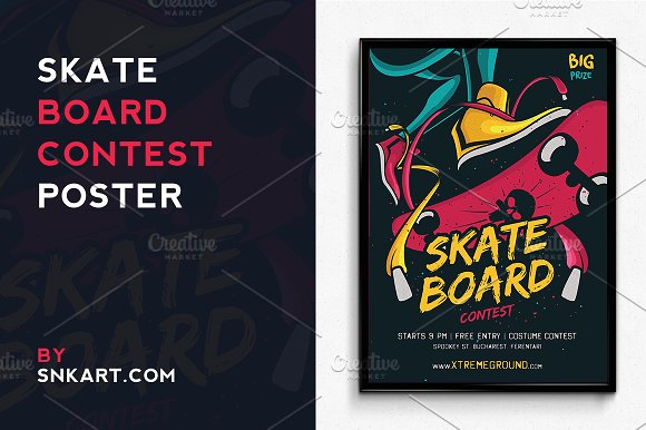 skateboard halloween contest flyer templates creative market