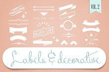 Labels & Decorative Vectors Vol.2
