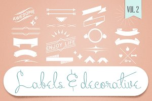 Labels & Decorative Vectors Vol.2