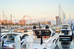 Yachts in Barcelona harbor, Spain