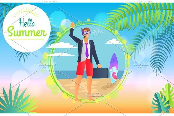 Hello Summer 2017 Businessman Vector