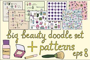 Vector doodle set Beauty elements.