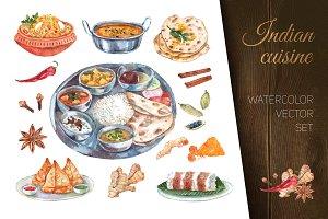Indian cuisine watercolor set