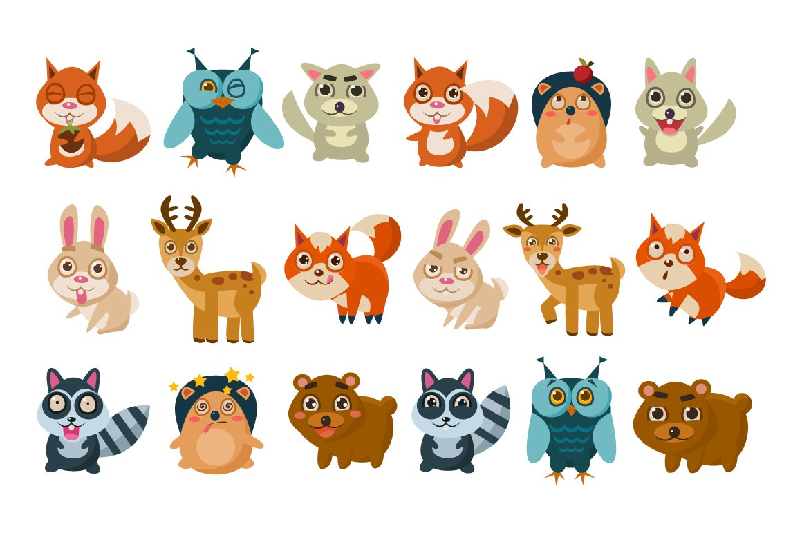 Forest animals vector illustration ~ Web Elements ...