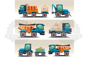 Set of trucks and tractors