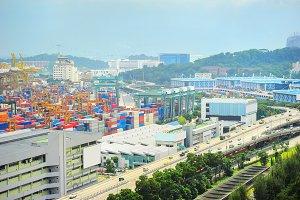 Singapore industrial port & highway