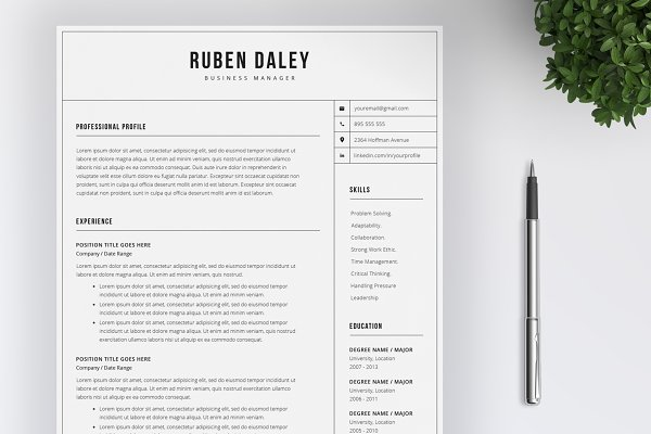Simple Resume And Cover Letter Creative Resume Templates