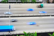 Traffic on overpass in Singpore