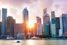 Singapore Downtown Core at sunset