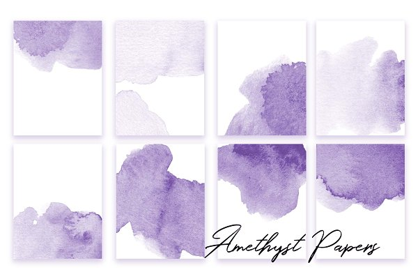 Amethyst Watercolor Textures