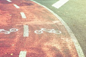 Bicycle road symbol on bike lane
