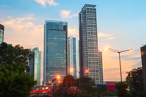 Jakarta downtown at beautiful sunset