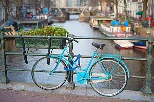 Blue bycicle on the bridge,Amsterdam
