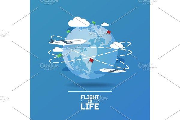 Plane around world vector aircraft