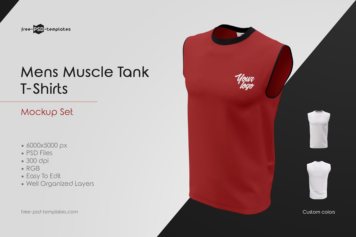 113ab02f Mens Muscle Tank T-Shirts MockUp Set ~ Mockup Templates ~ Creative ...