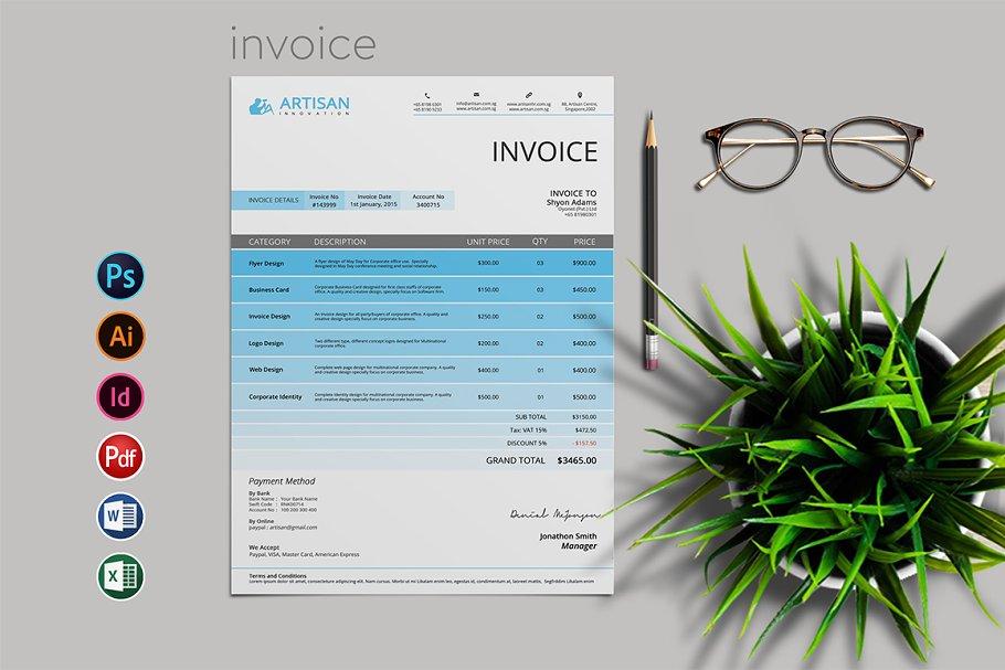 Simple Invoice Creative Illustrator Templates Creative Market